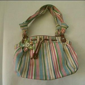 Croft & Barrow fabric pastel striped mini hobo bag